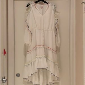 White with rainbow trim red cater dress